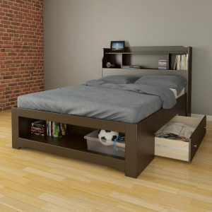 Dixon 1-Drawer Storage Bed with Bookcase Headboard Full