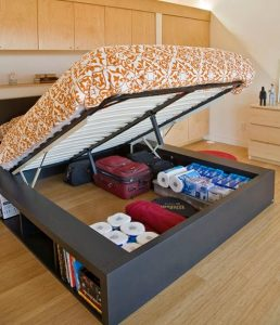 Lift Up Bed Frame with Side Shelving