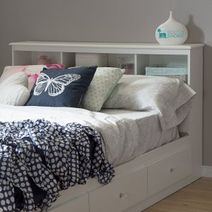 Headboard with storage bed