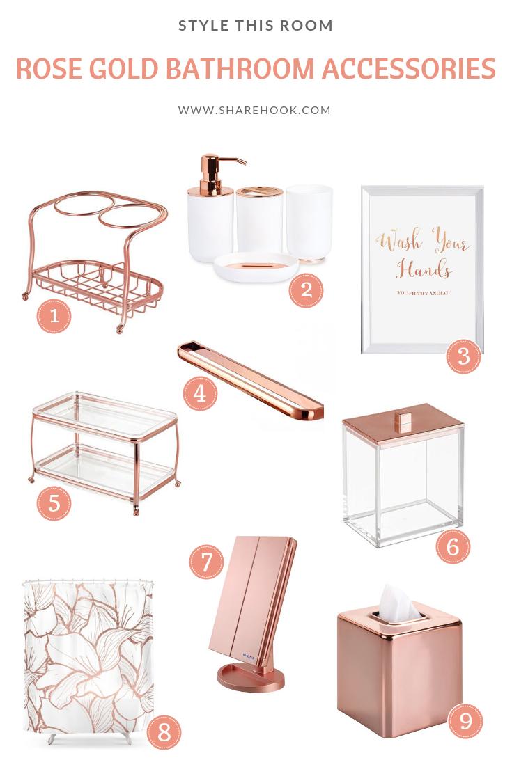 rose gold bathroom accessories sharehook. Black Bedroom Furniture Sets. Home Design Ideas