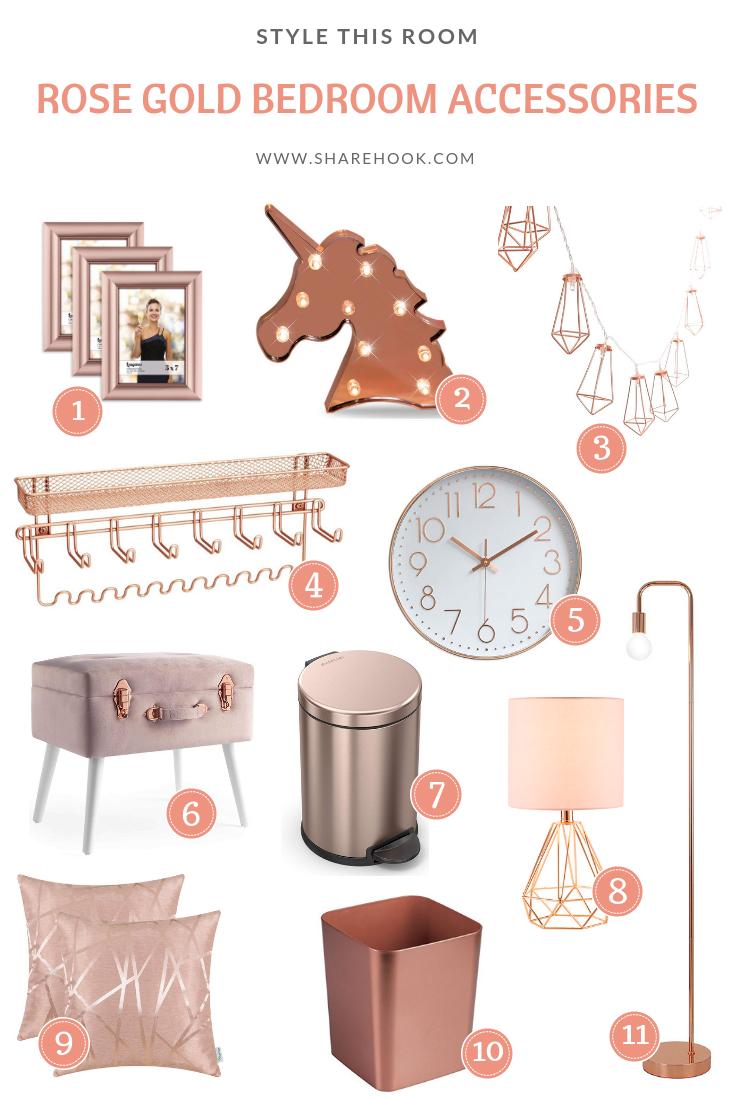 Rose Gold Bedroom Accessories Sharehook